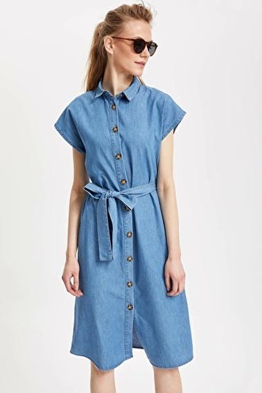 DeFacto Jean Gömlek Elbise Mavi